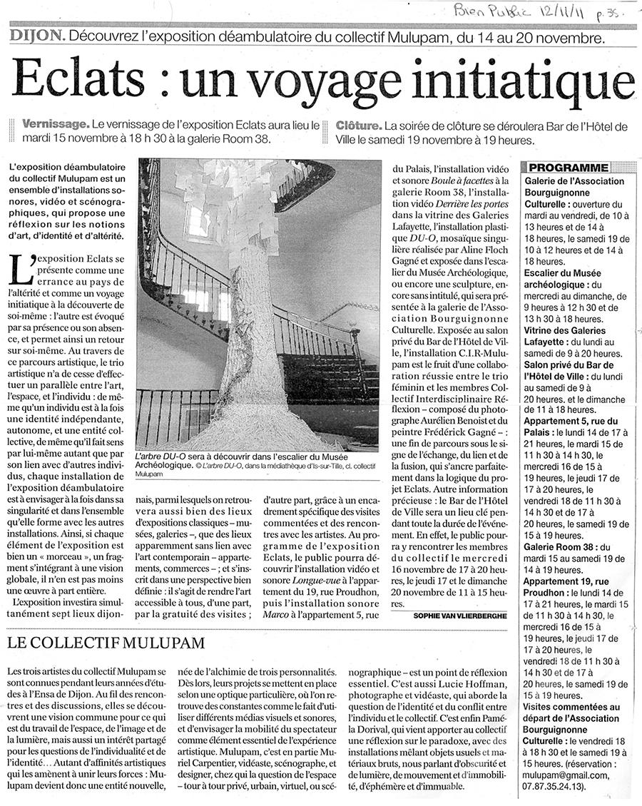 Scan d'un article de journal à propos de l'oeuvre Éclats.